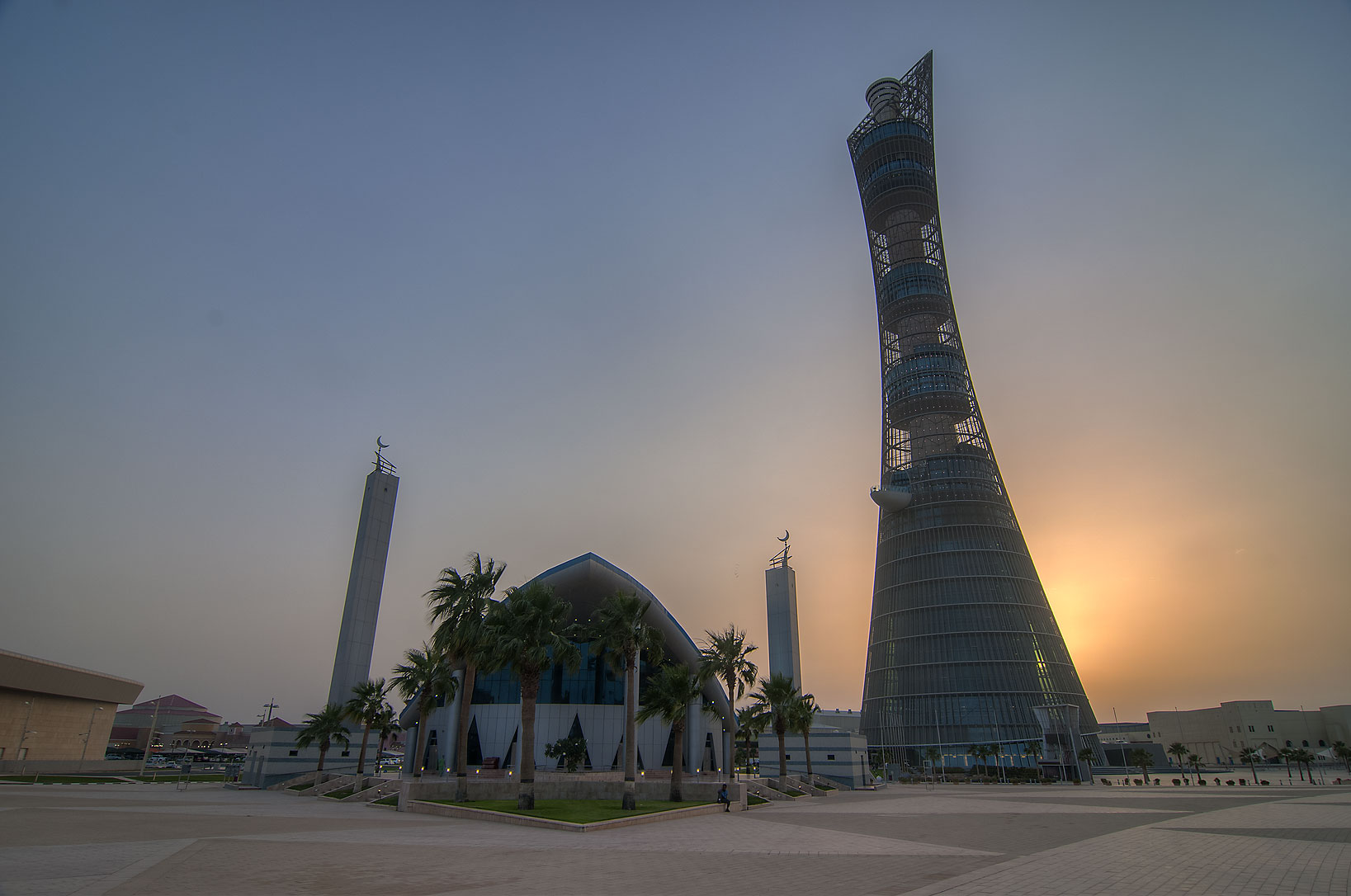 Mosque and Torch Hotel in Aspire Zone. Doha, Qatar