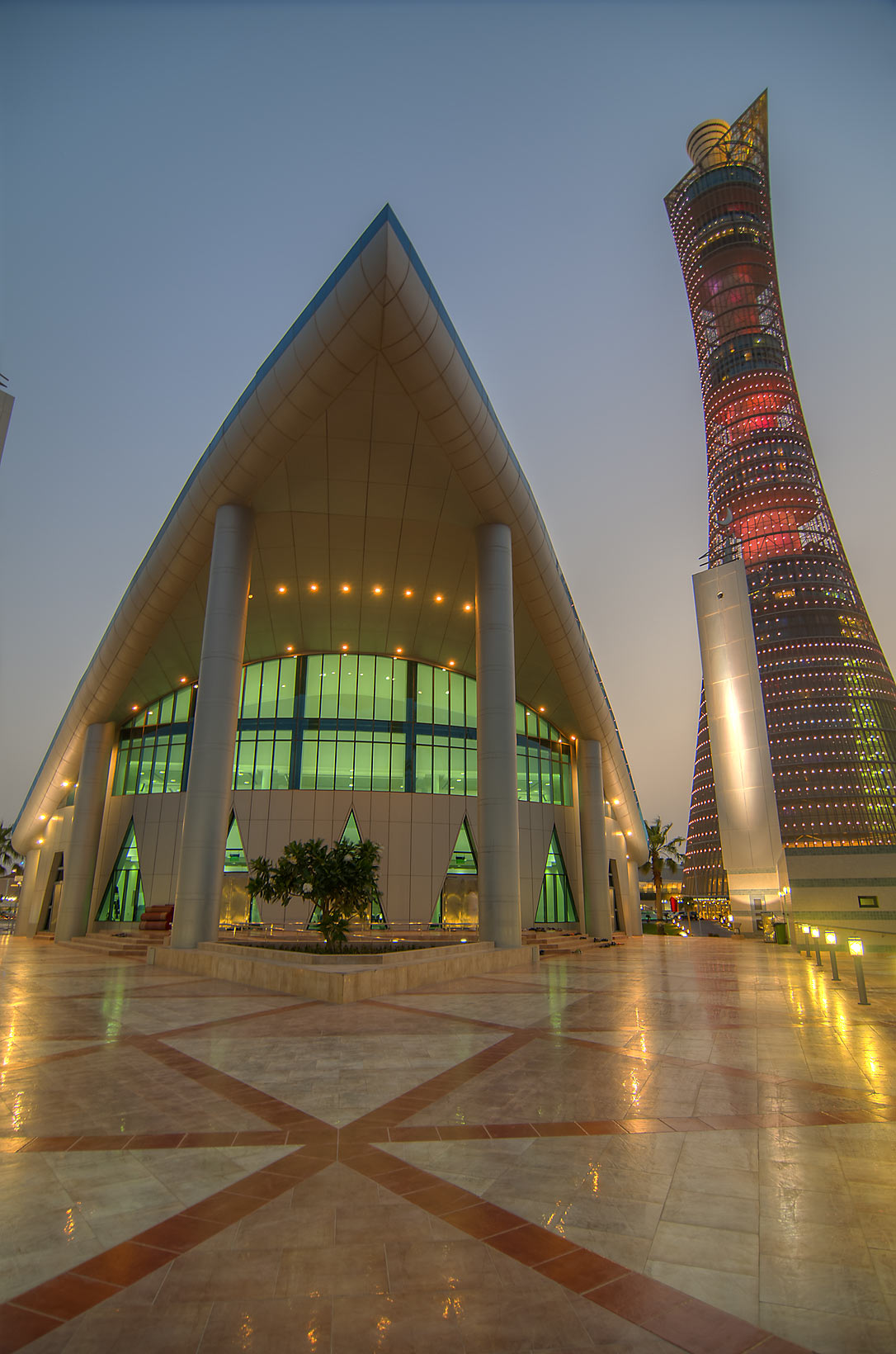 Aspire Zone Mosque and Torch Tower at evening. Doha, Qatar