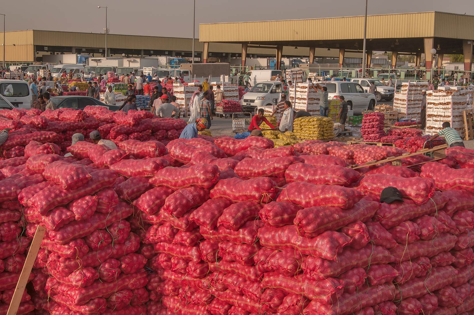 Bags with onions in Wholesale Vegetable Market, Abu Hamour area. Doha, Qatar