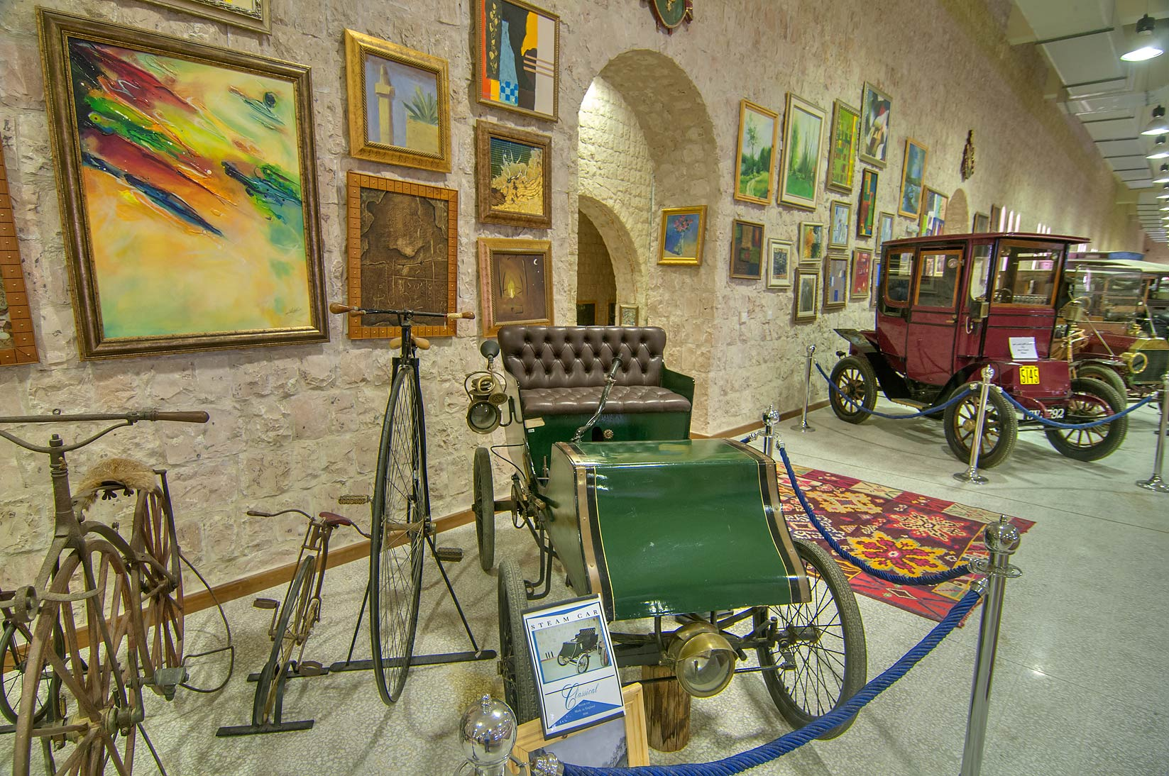 Antique cars an bicycles in Sheikh Faisal Bin...Museum near Al-Shahaniya. Doha, Qatar