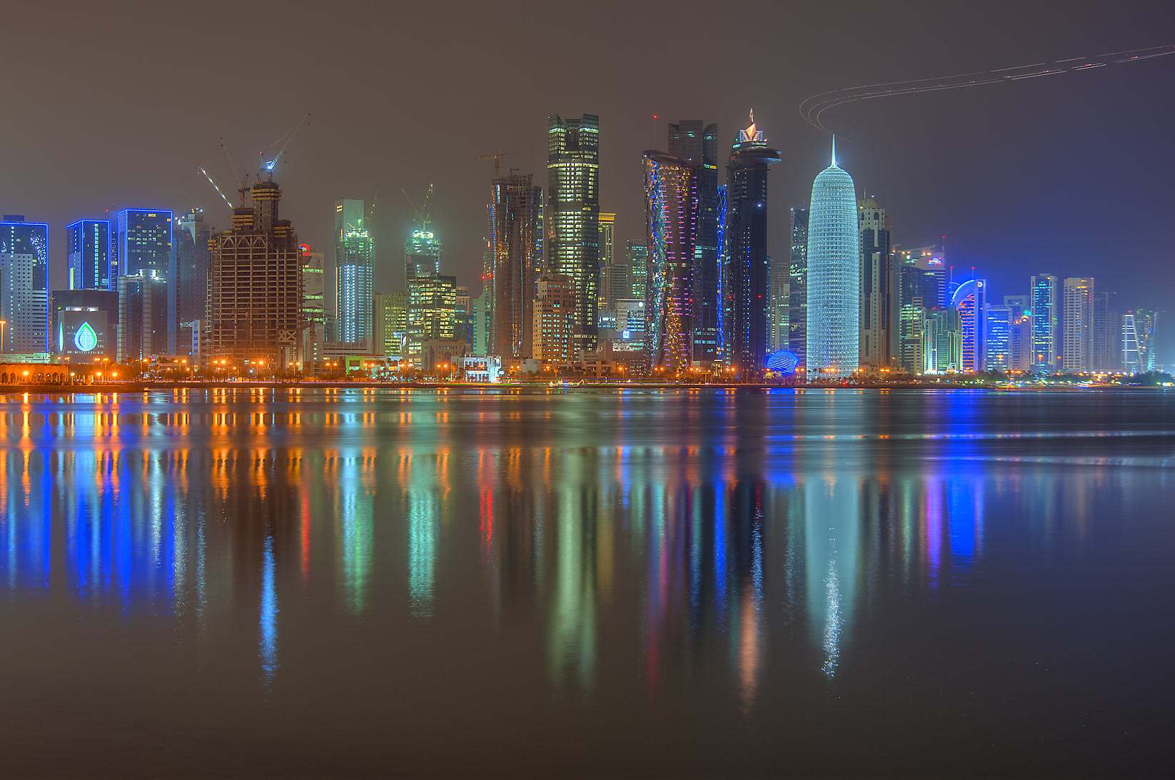 View of West Bay from Corniche promenade. Doha, Qatar