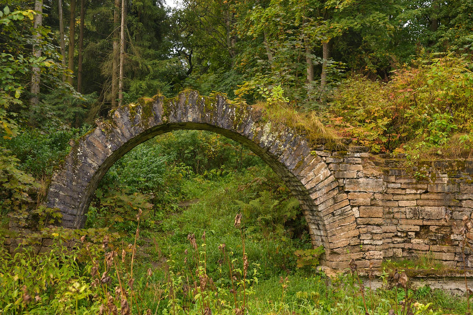 Stone arch near Elizavetin Pavilion one mile from...a suburb of St.Petersburg, Russia
