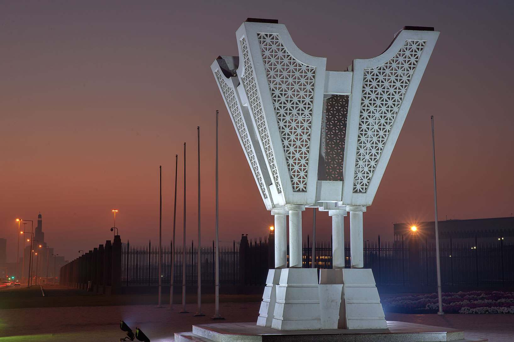 Sculpture of incense burner on Corniche at morning dusk. Doha, Qatar