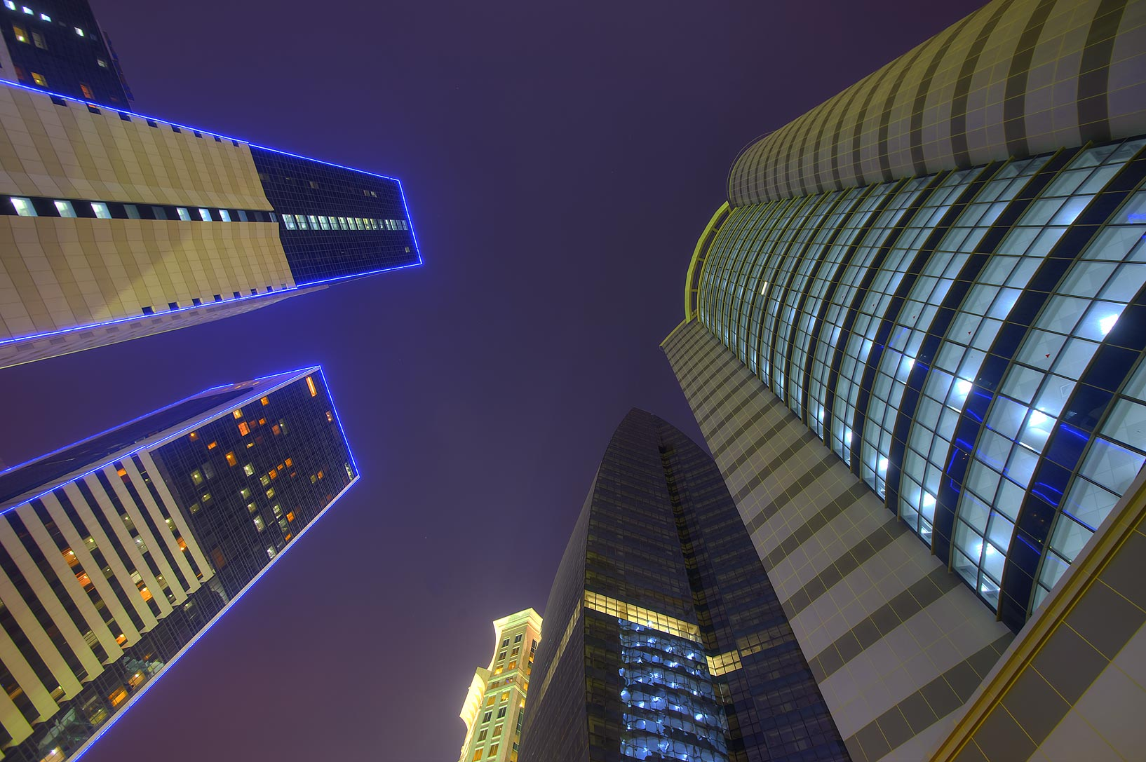 Ezdan Towers at Al Betra St. in West Bay, looking up. Doha, Qatar