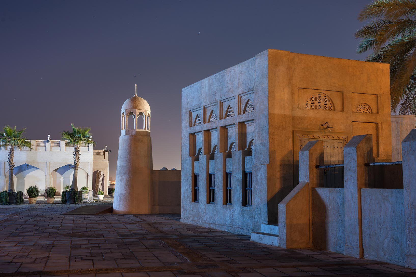 Recently built fake historical mosque near...on Corniche Promenade. Doha, Qatar