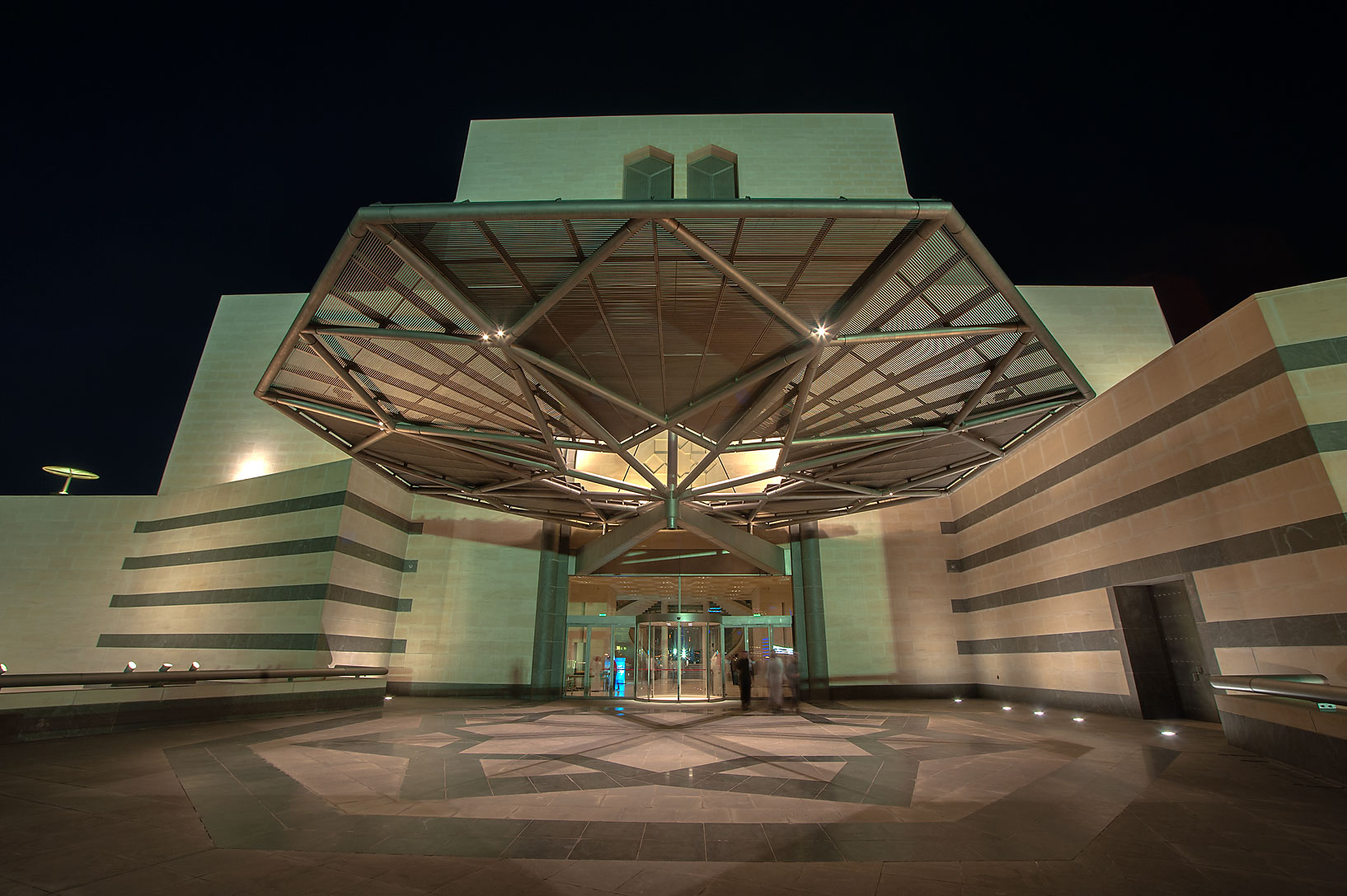 Entrance of Museum of Islamic Art at evening. Doha, Qatar
