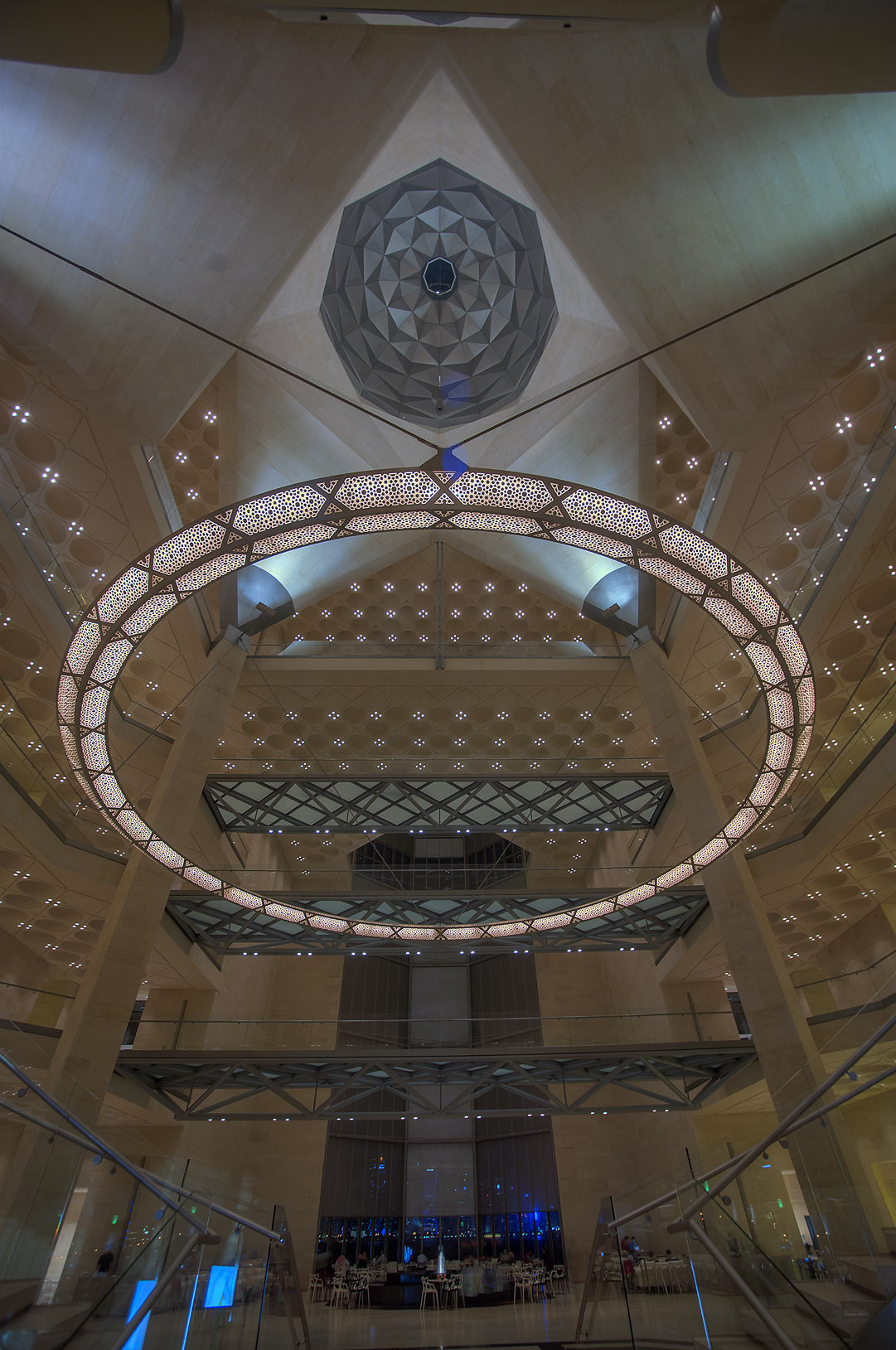 Perforated chandelier from the entrance of Museum of Islamic Art. Doha, Qatar