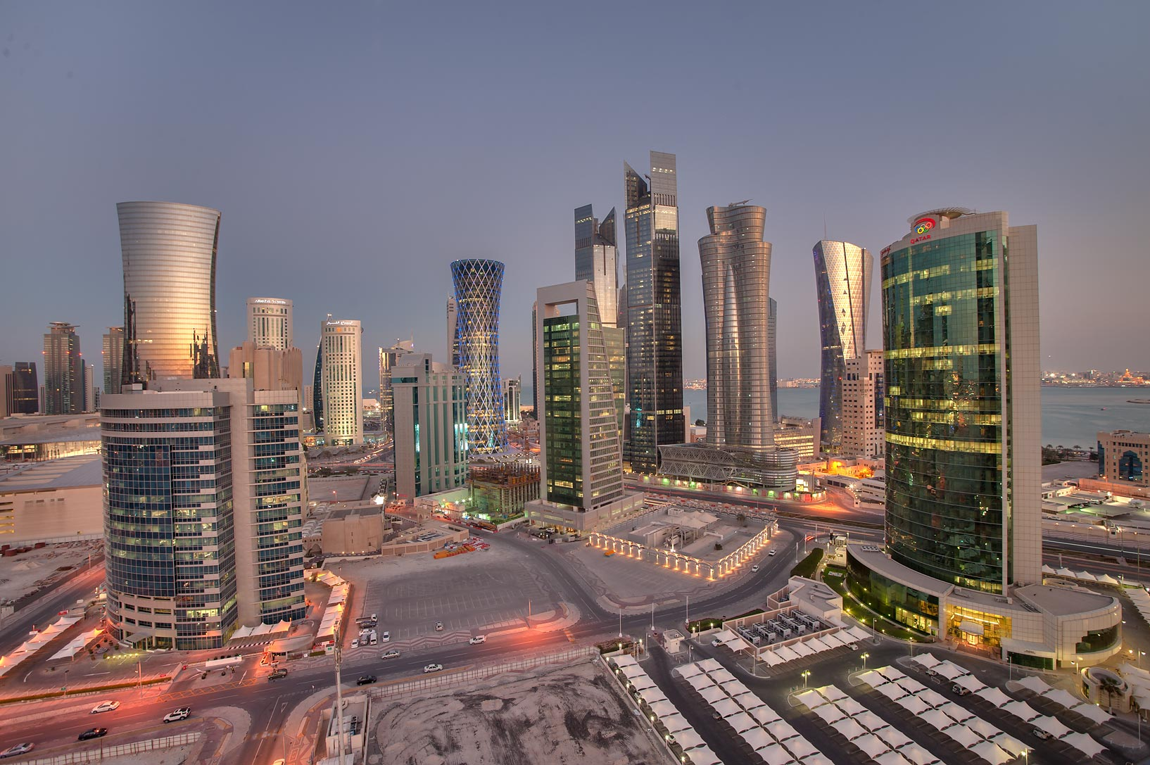 View of West Bay from balcony of Room 1703 of Dareen Tower at evening. Doha, Qatar