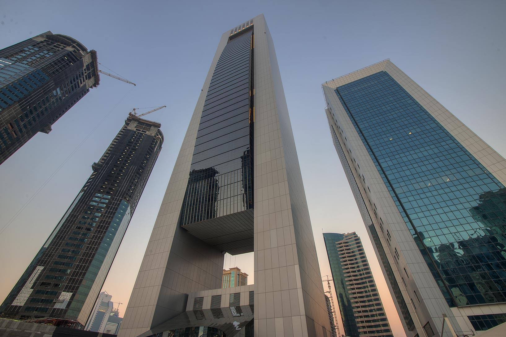 Faisal and Al Reem towers in West Bay from Omar Al Mukhtar St.. Doha, Qatar