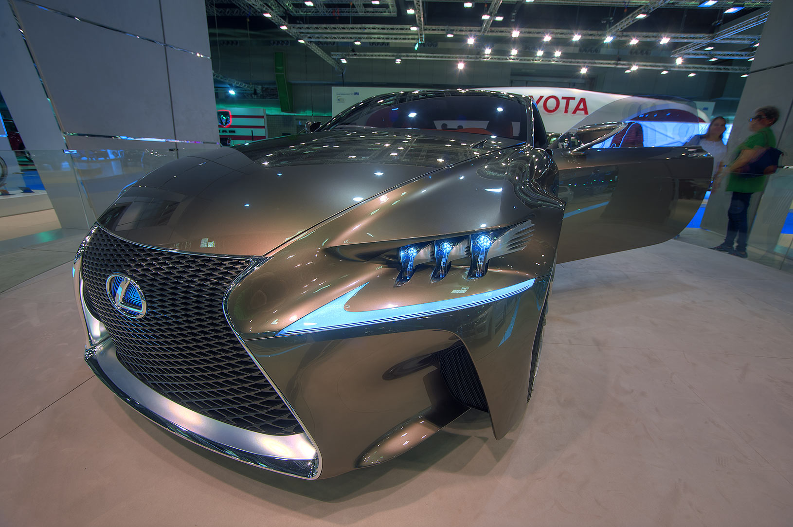 Corner view of Toyota car on motor show in National Convention Centre. Doha, Qatar