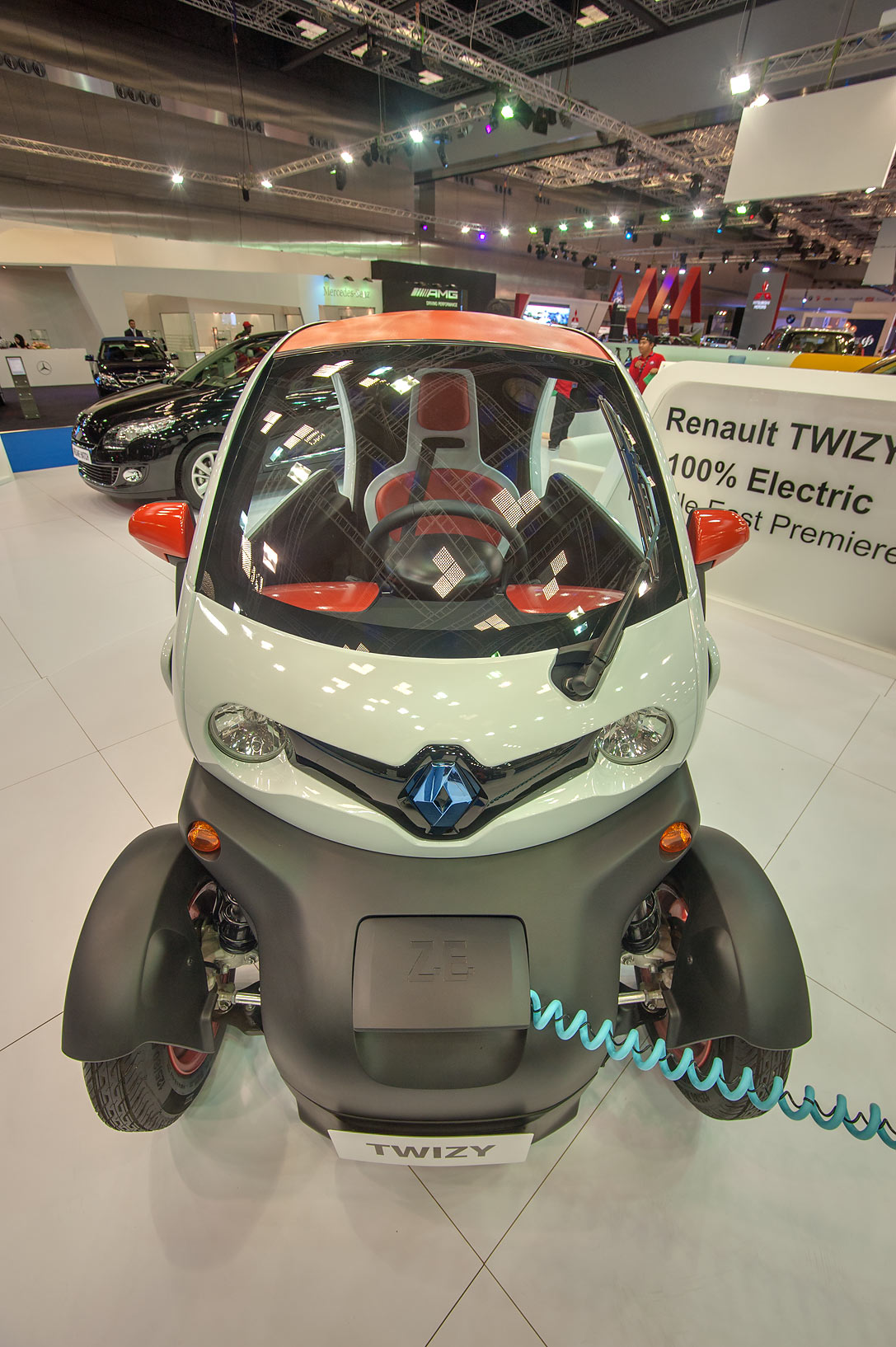 Renault TWIZY children's car on motor show in National Convention Centre. Doha, Qatar