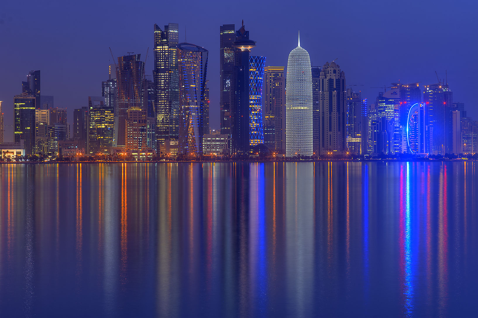 West Bay at dusk from Corniche Promenade. Doha, Qatar