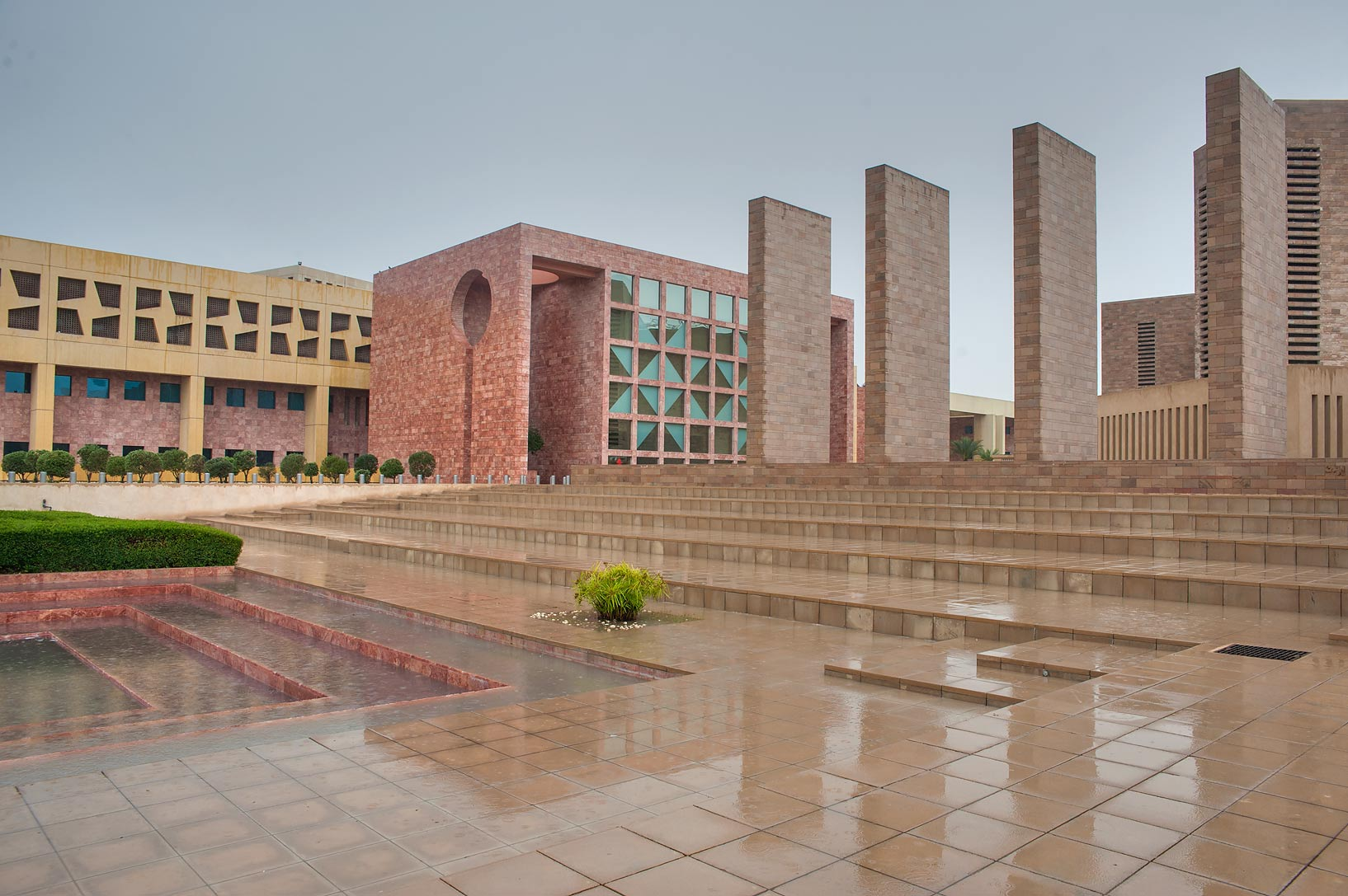 Stone steps between Texas A&M and Carnegie...City campus at rain. Doha, Qatar