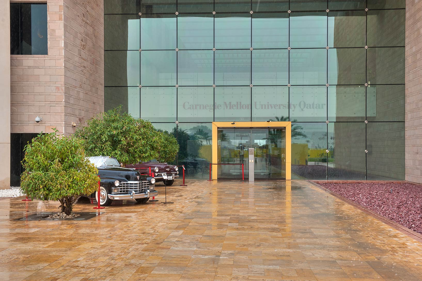 Back entrance of Carnegie Melon University in Education City campus at rain. Doha, Qatar