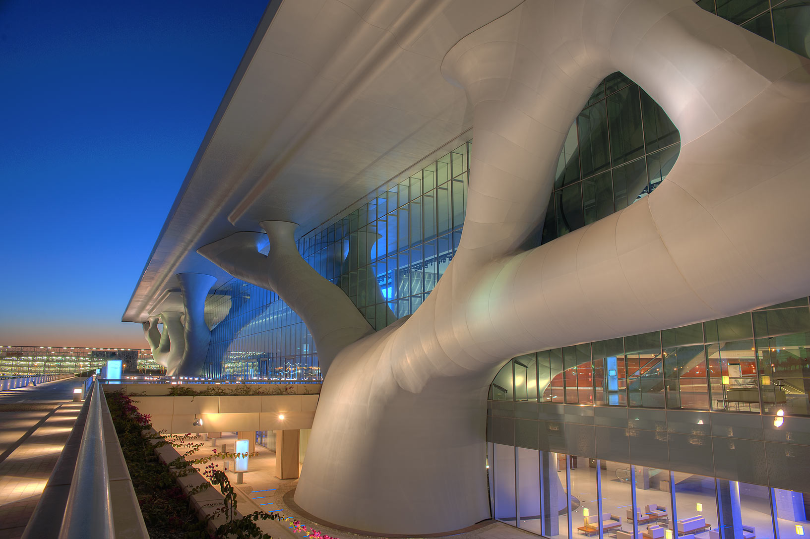 Entrance of National Convention Centre (QNCC) at evening. Doha, Qatar