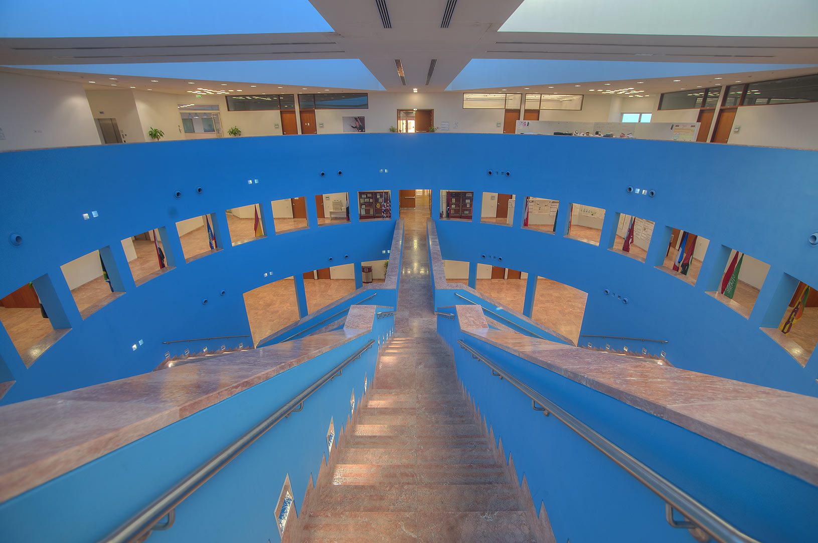 Steps of research section (blue area) of Texas A...campus of Education City. Doha, Qatar
