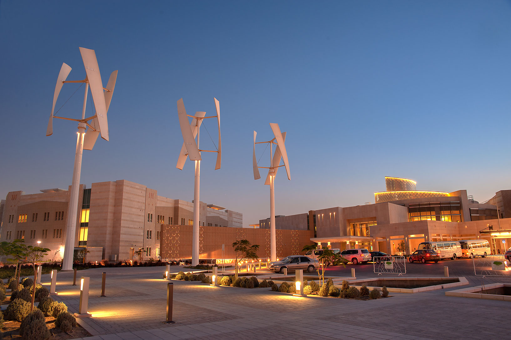 Entrance of new Student Center at evening on campus of Education City. Doha, Qatar