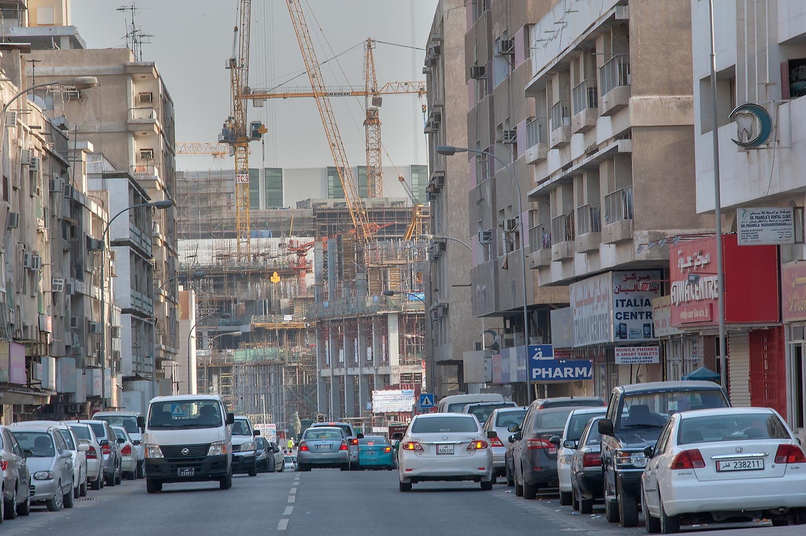 Abdullah Bin Thani St., with Musheireb Development in background. Doha, Qatar