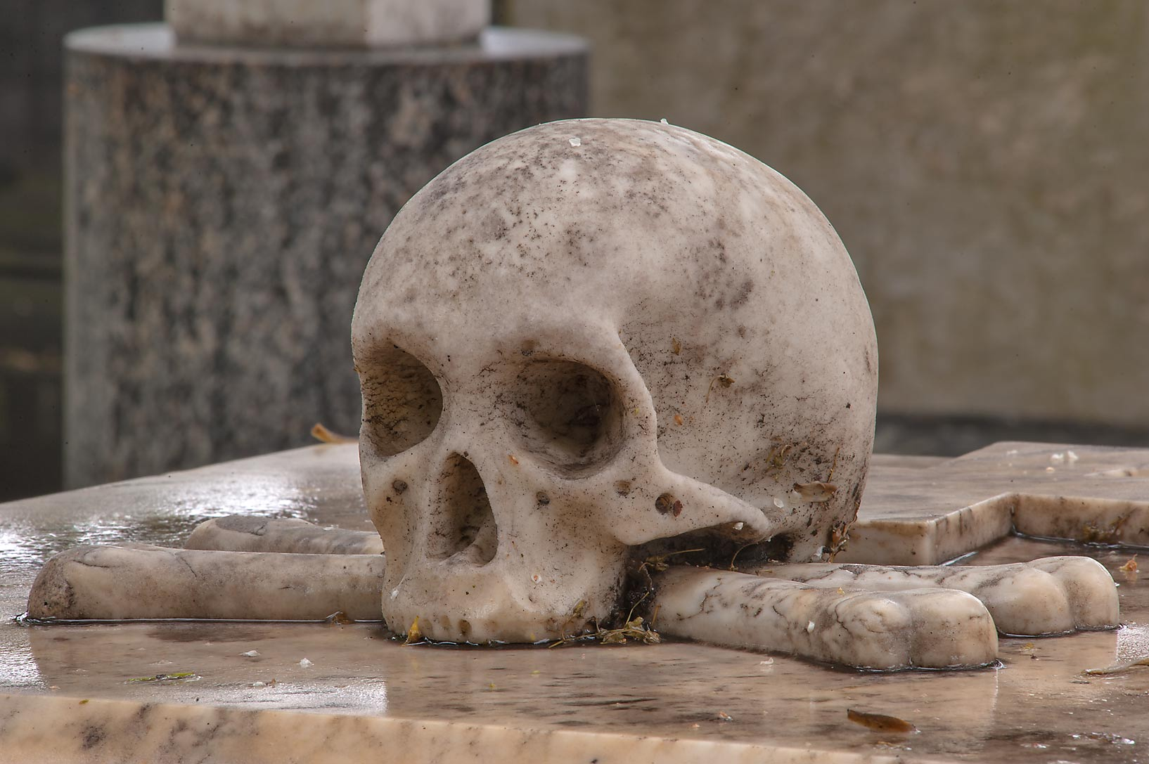 Marble skull on a tomb in Necropolis of Alexander...Cemetery). St.Petersburg, Russia