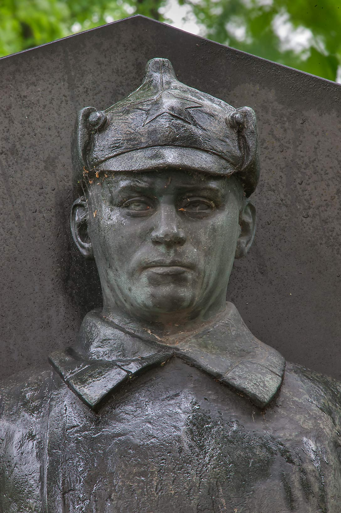 Bronze sculpture of a soldier of Red Army in...Nevsky Lavra. St.Petersburg, Russia