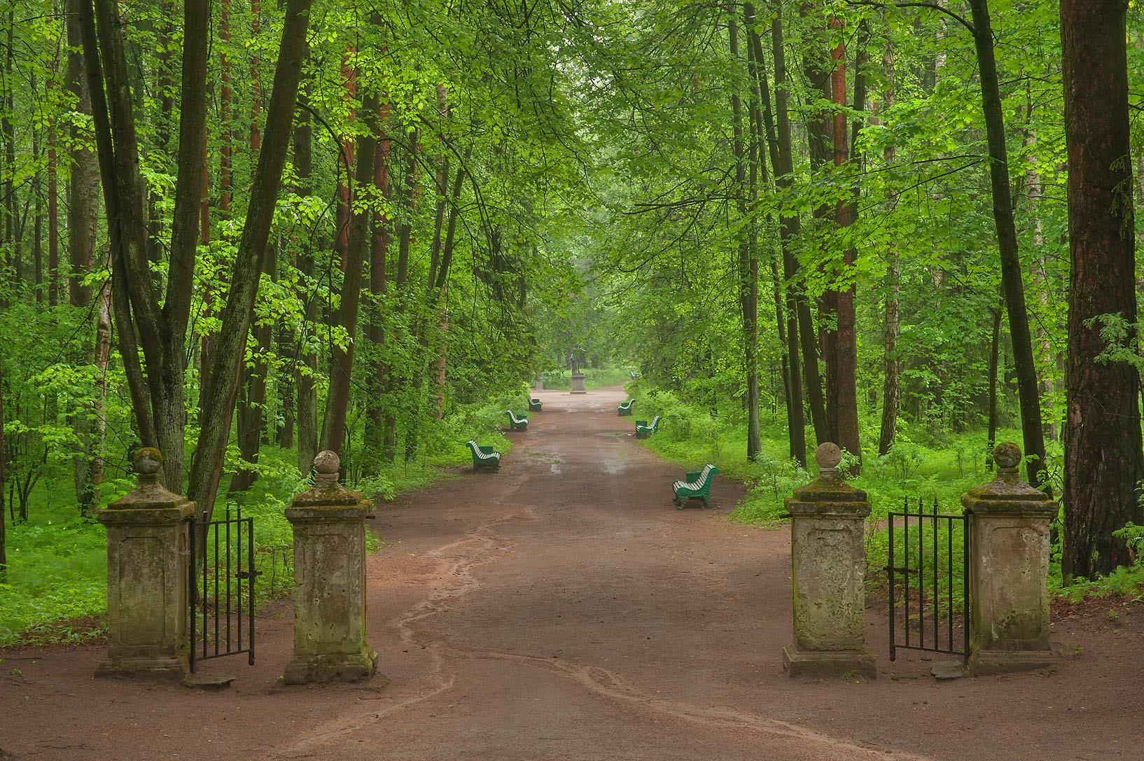 Gate of 5-th Parade Alley in Pavlovsk Park. Pavlovsk, suburb of St.Petersburg, Russia