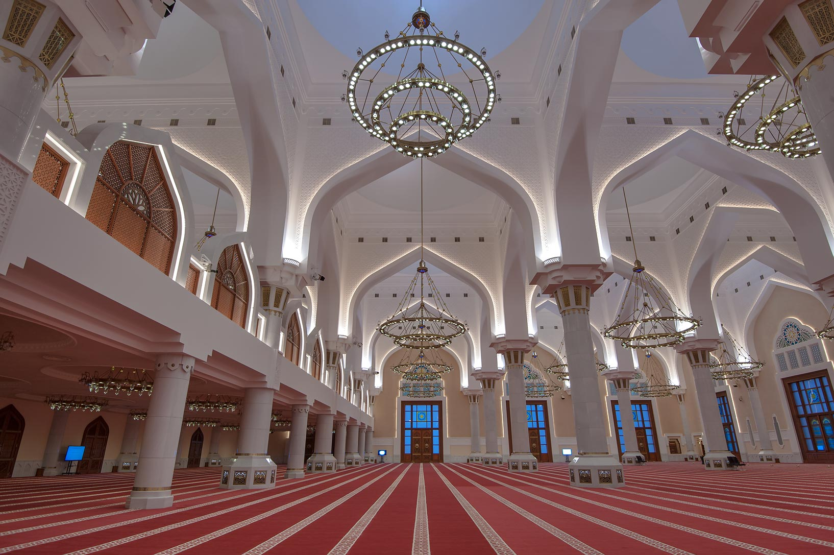 Arches and columns of prayer hall of State Mosque...Wahhab Mosque) at morning. Doha, Qatar