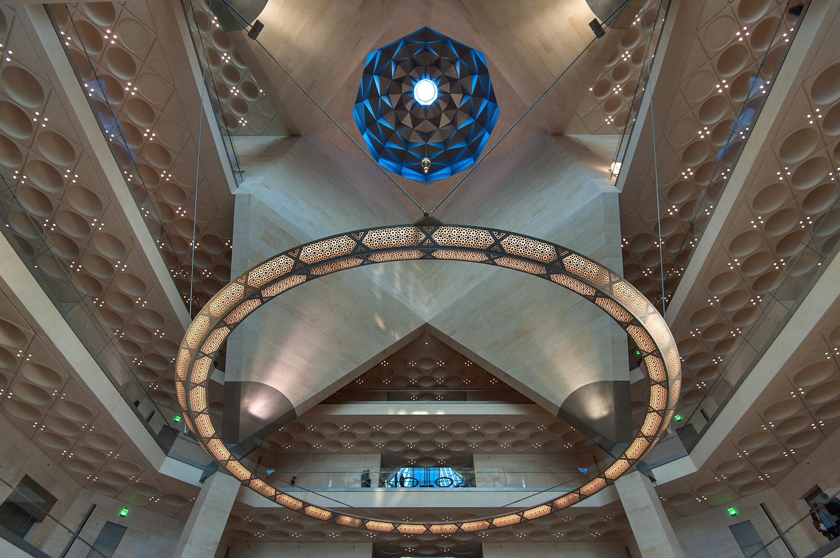 Perforated chandelier and oculus of Museum of Islamic Art. Doha, Qatar