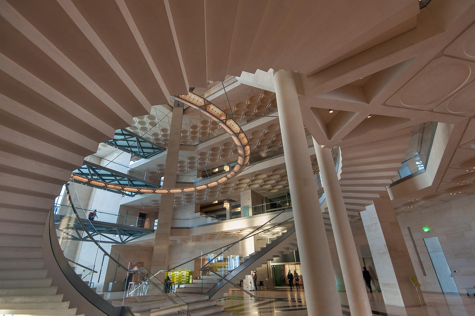 Underneath grand staircase of Museum of Islamic Art. Doha, Qatar