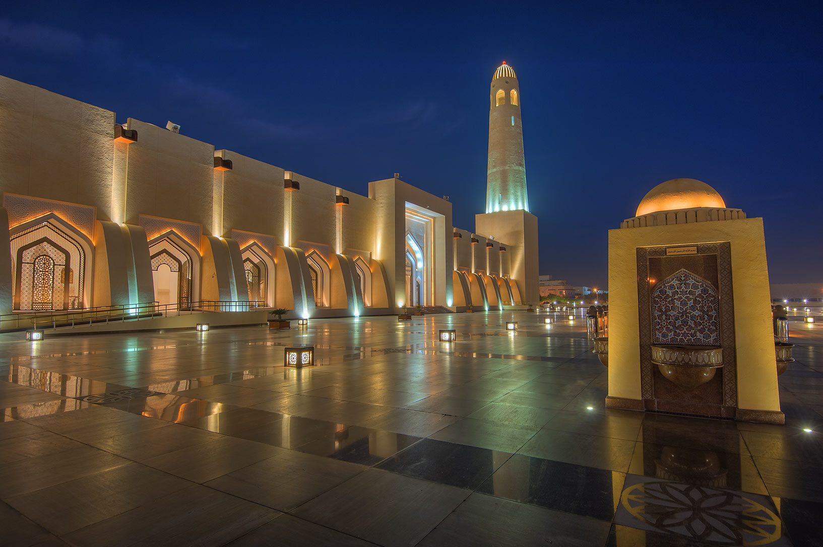 Reflections of State Mosque (Sheikh Muhammad Ibn Abdul Wahhab Mosque). Doha, Qatar