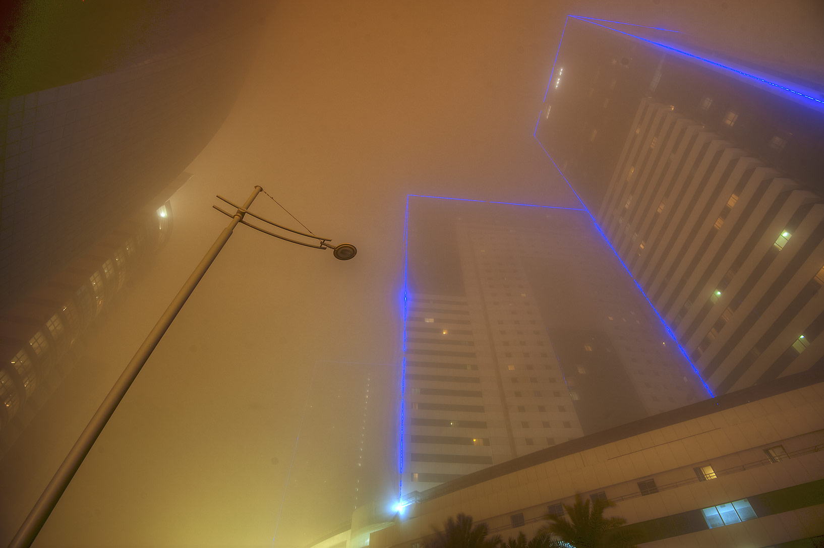 Towers No. 1 and 3 of Ezdan Hotel and Suites in West Bay during dust storm. Doha, Qatar