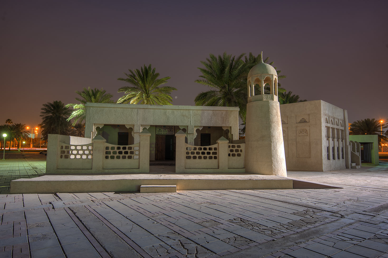 Small mosque near Balhambar Restaurant on Corniche Promenade. Doha, Qatar
