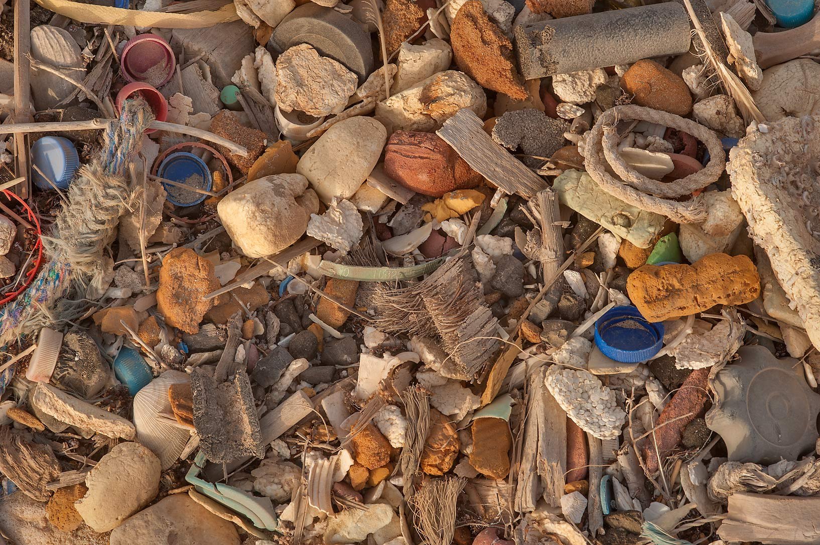 Marine debris at sunrise washed up on shore below Jebel Fuwairit. Northern Qatar