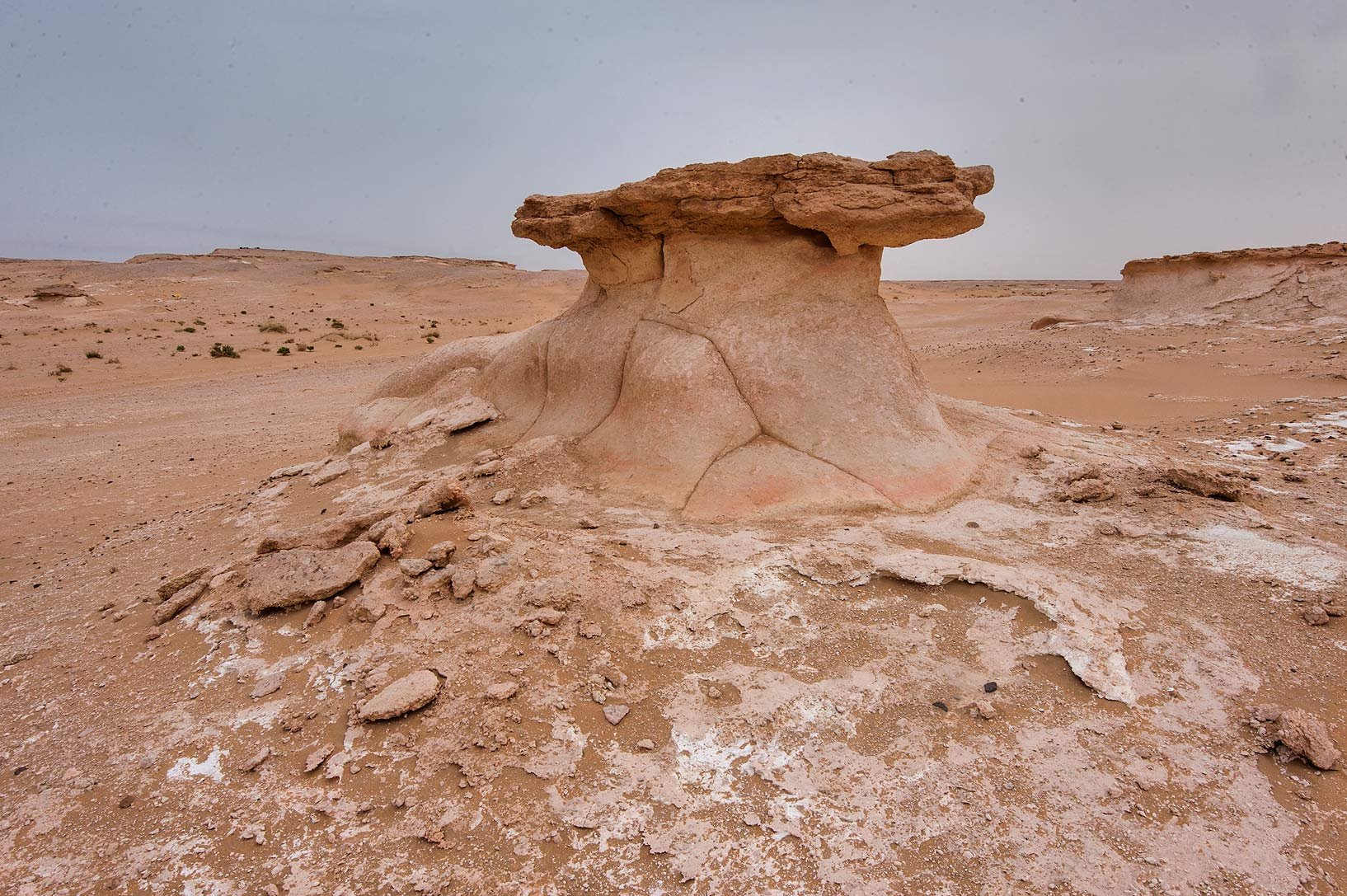 Limestone mushroom formation in area of Nakhsh Mountain near Salwa Rd. in southern Qatar