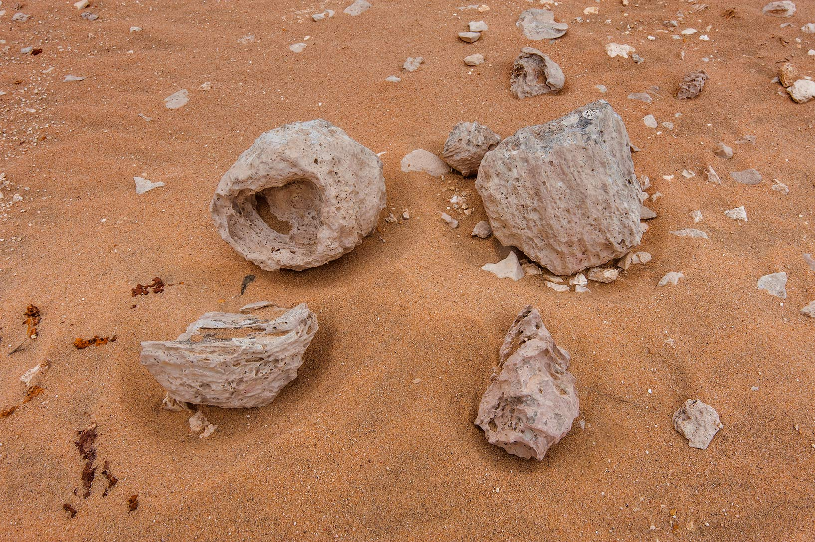 Wind abrasion of rocks in area of Nakhsh Mountain near Salwa Rd. in southern Qatar