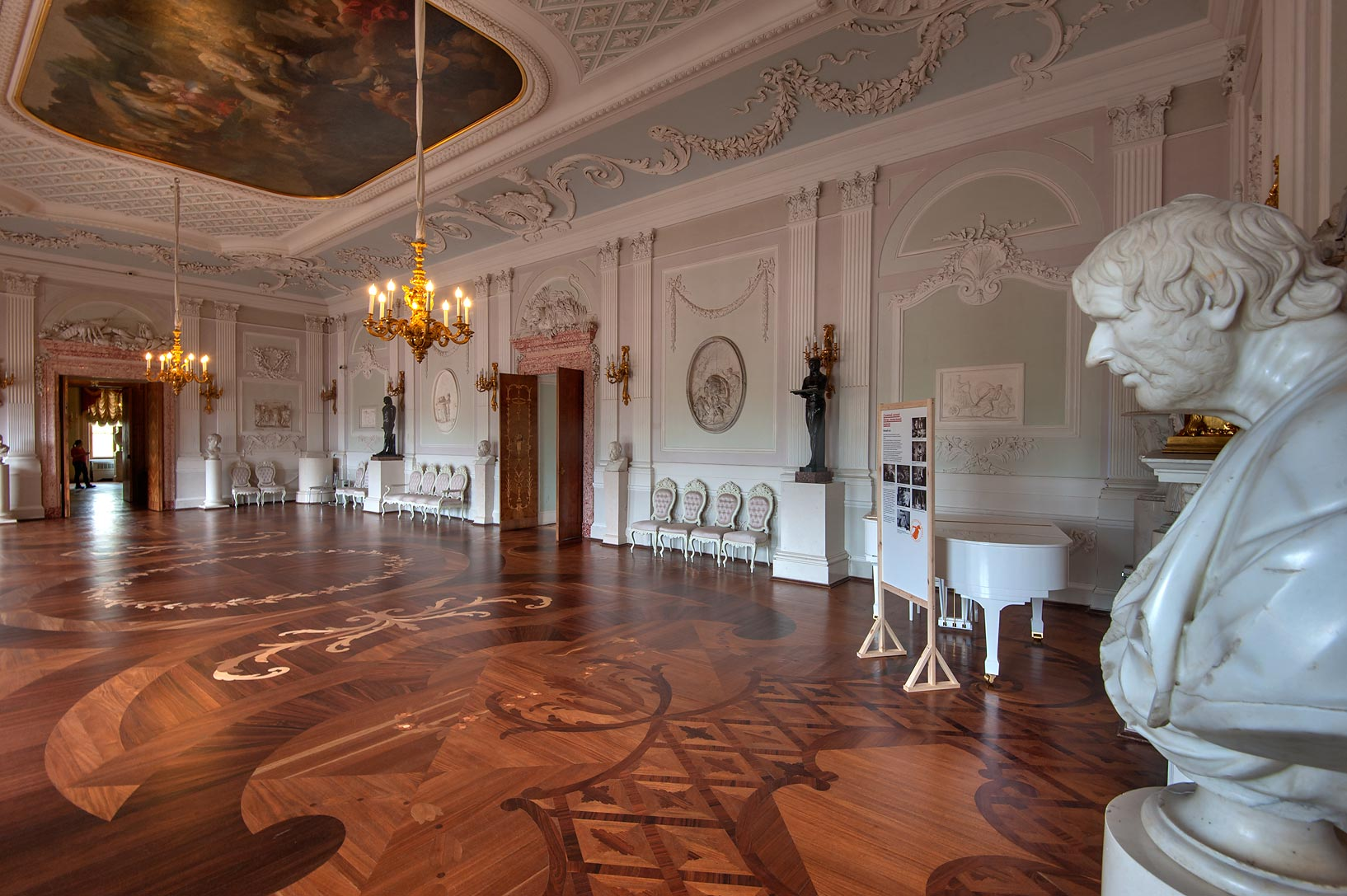 White Hall in Gatchina Palace. Gatchina, suburb of St.Petersburg, Russia