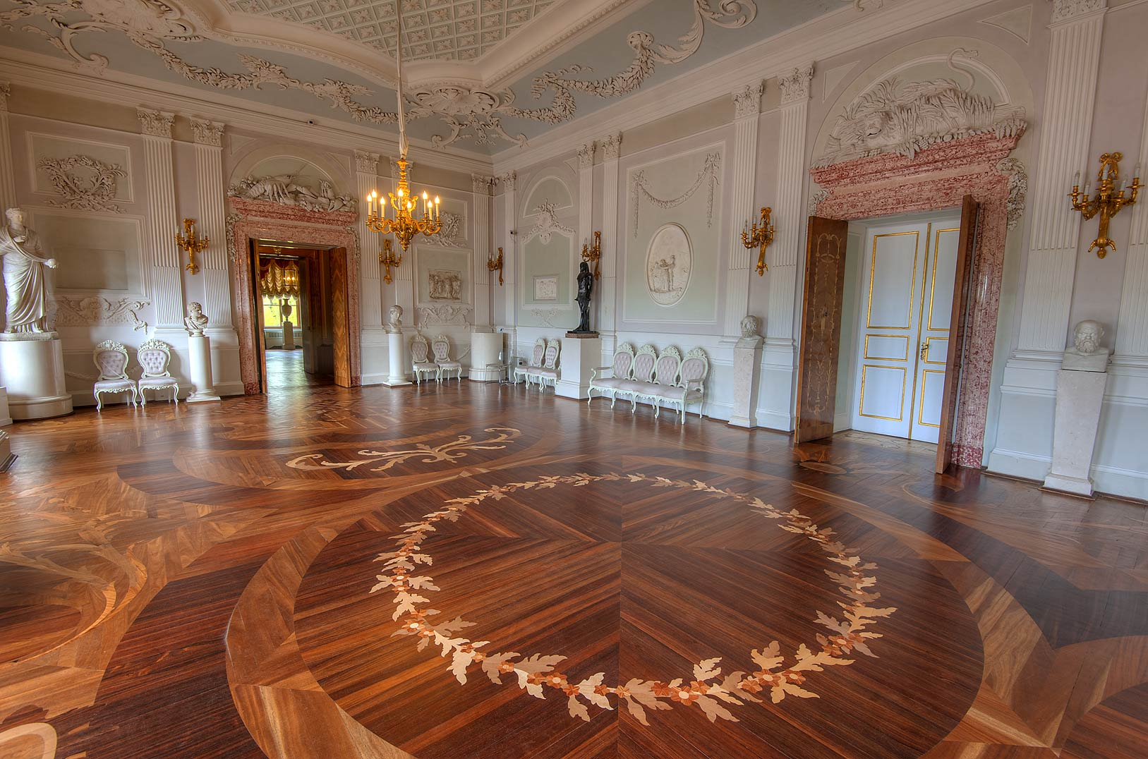 Parquet of White Hall in Gatchina Palace. Gatchina, suburb of St.Petersburg, Russia