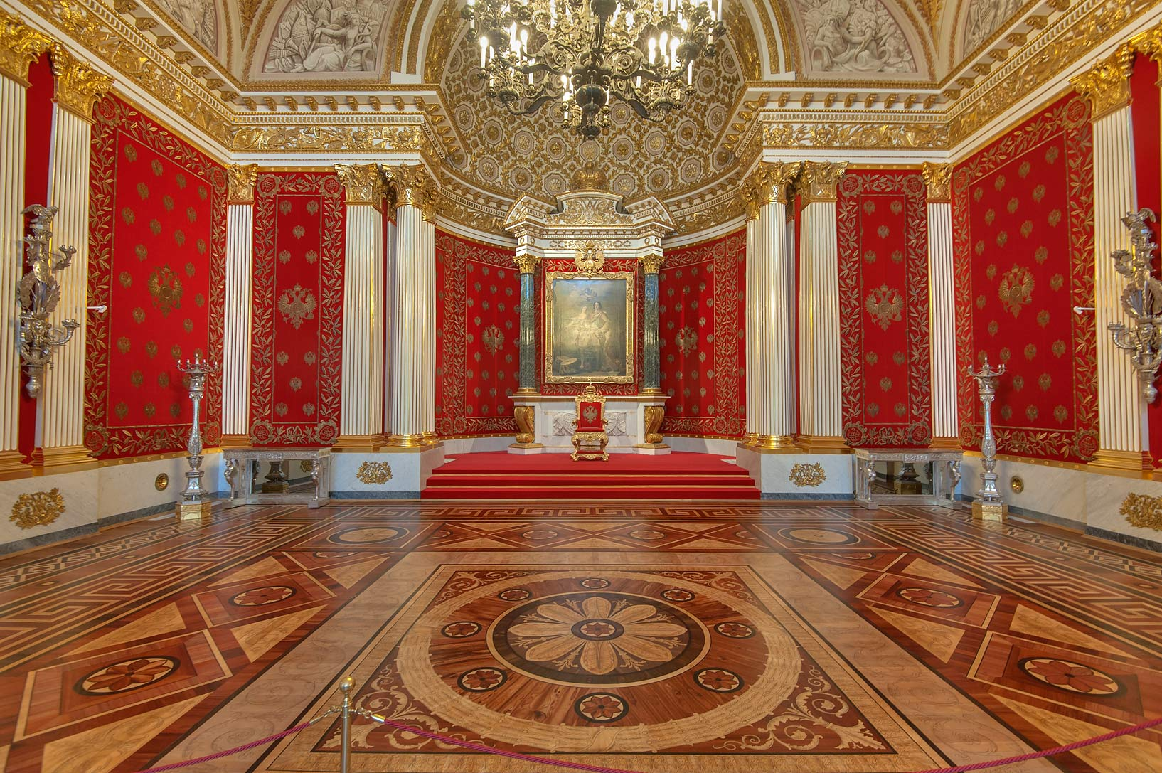 Red Room with a portrait of Peter the Great in Hermitage Museum. St.Petersburg, Russia