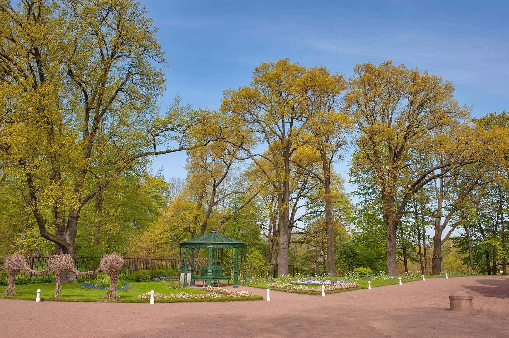 Park near Cottage Palace in Alexandria Park in Peterhof, west from St.Petersburg. Russia
