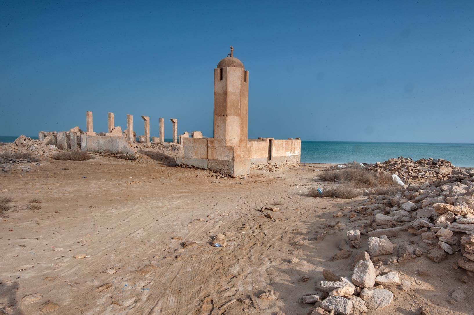 Mosque minaret in old fishing village (ghost town...from Lekhwair on northern coast. Qatar