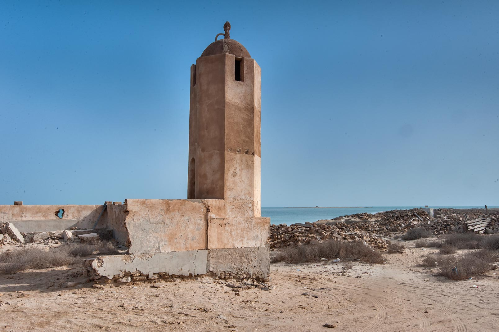 Minaret of a mosque in old fishing village (ghost...from Lekhwair on northern coast. Qatar