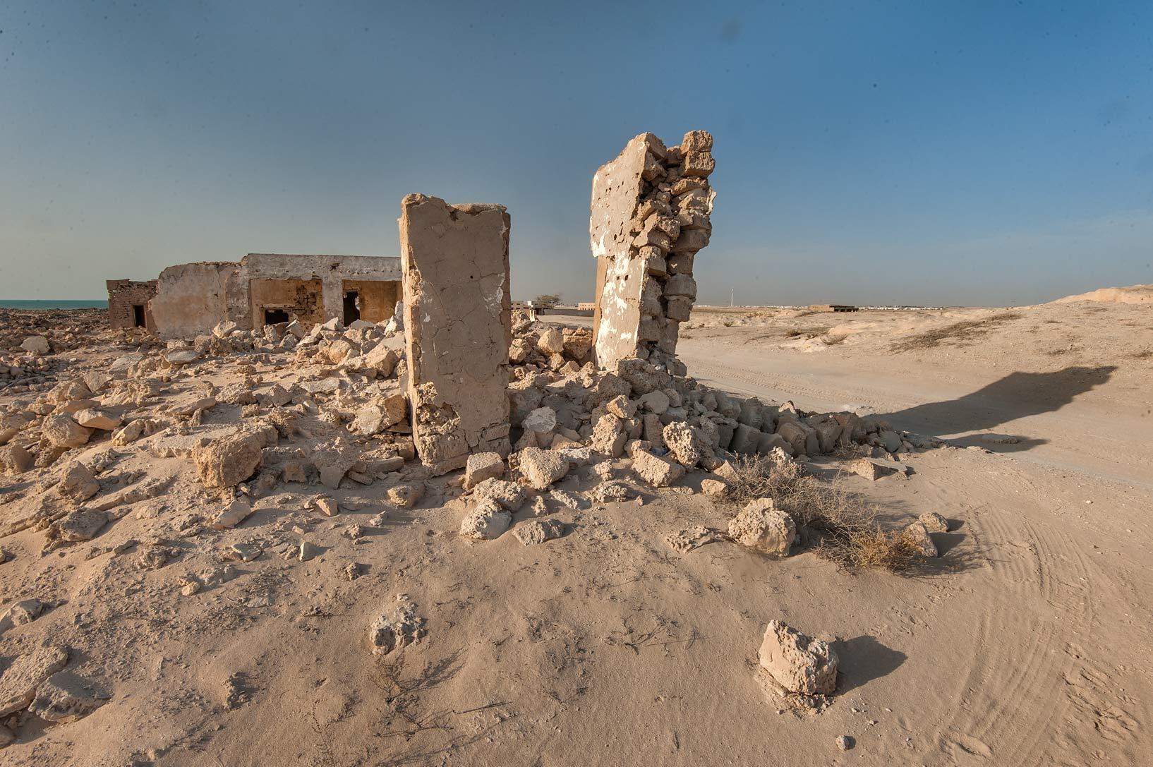 Remains of a stone wall in old fishing village...eastern coast, Ash Shamal area. Qatar