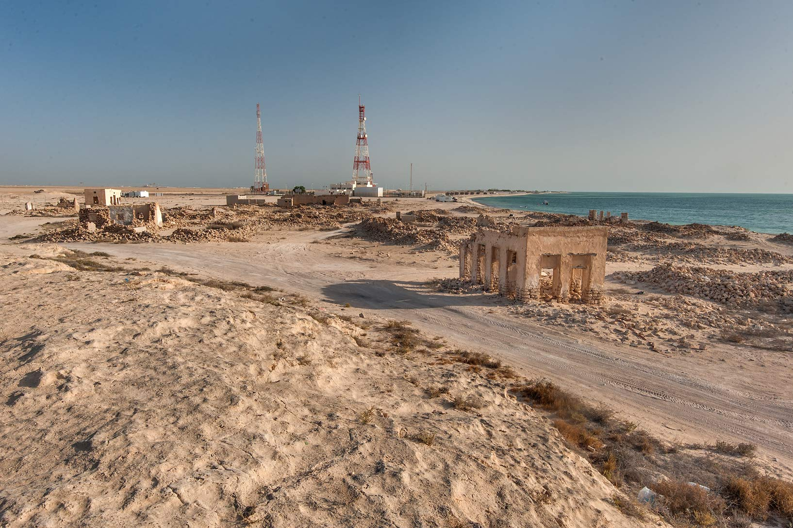 View from a jebel (stone hill) of old fishing...eastern coast, Ash Shamal area. Qatar