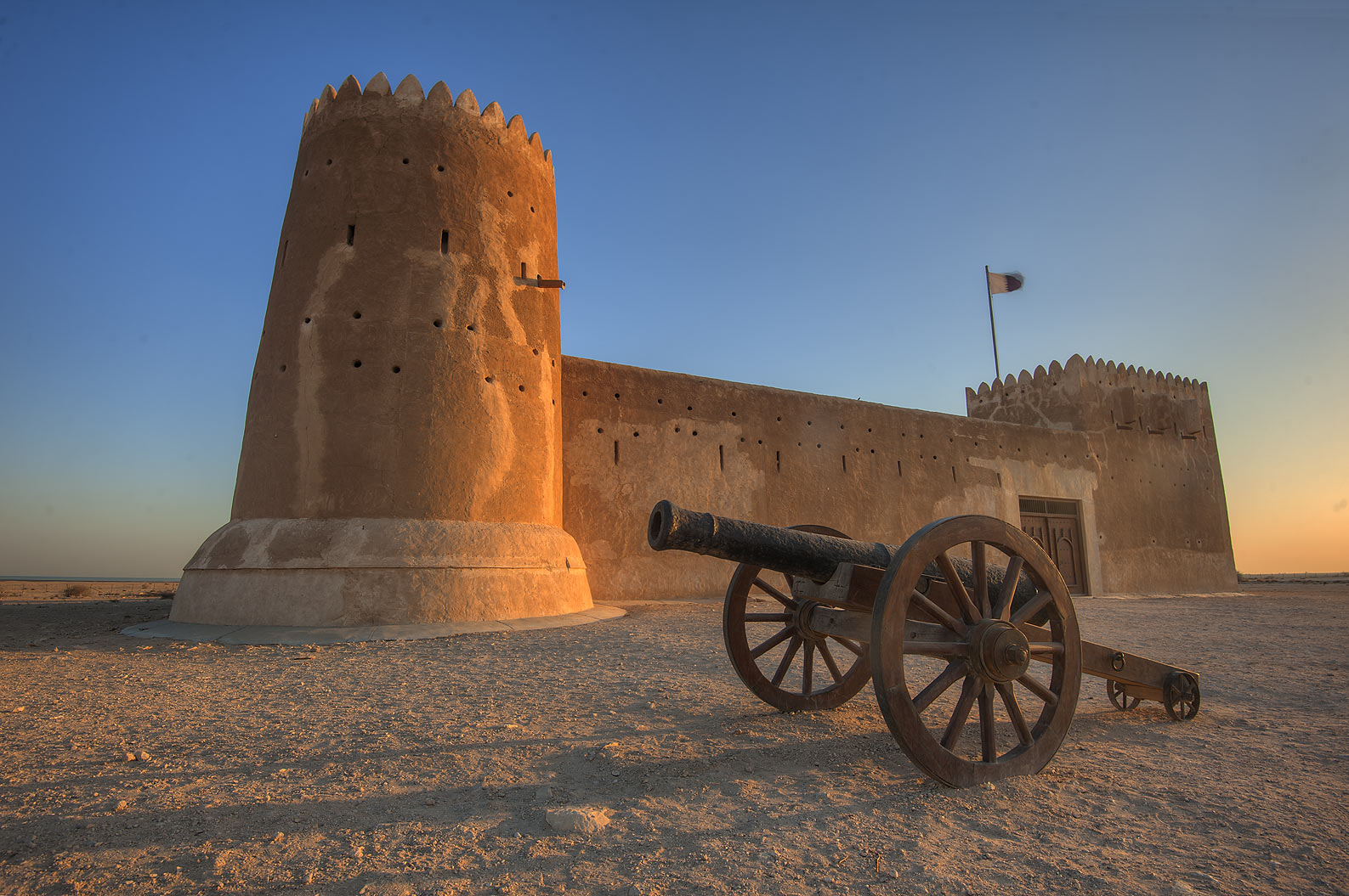 Zubara Fort at sunrise. North-west coast, Qatar