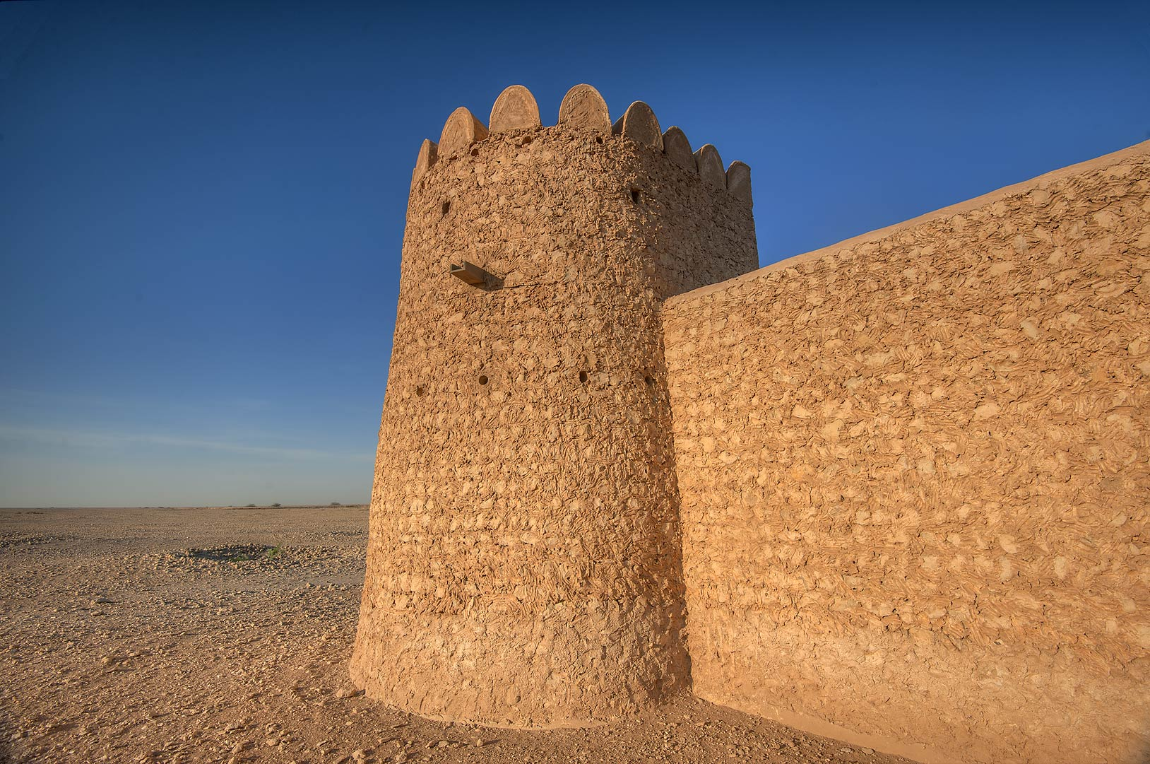 Round tower of Al Thugab Fort. North-west coast, Qatar
