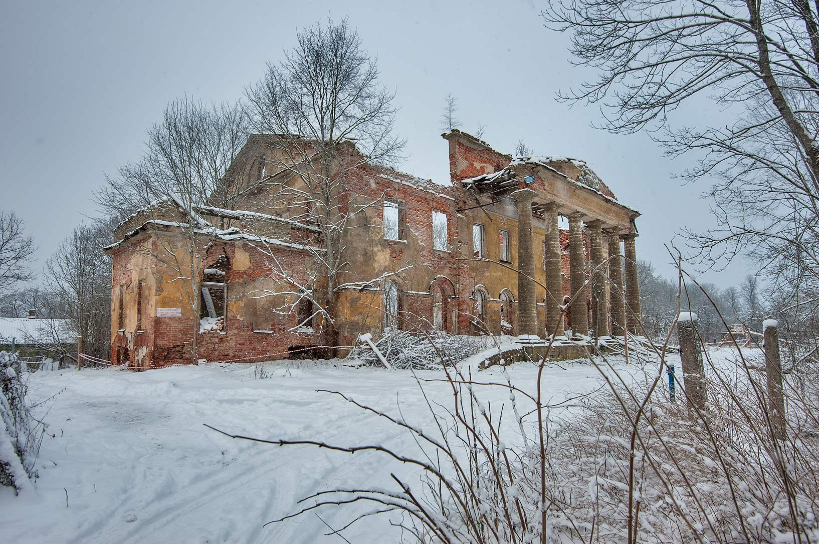 Side view of a stone mansion in Kotly Estate...Region of Leningrad District, Russia