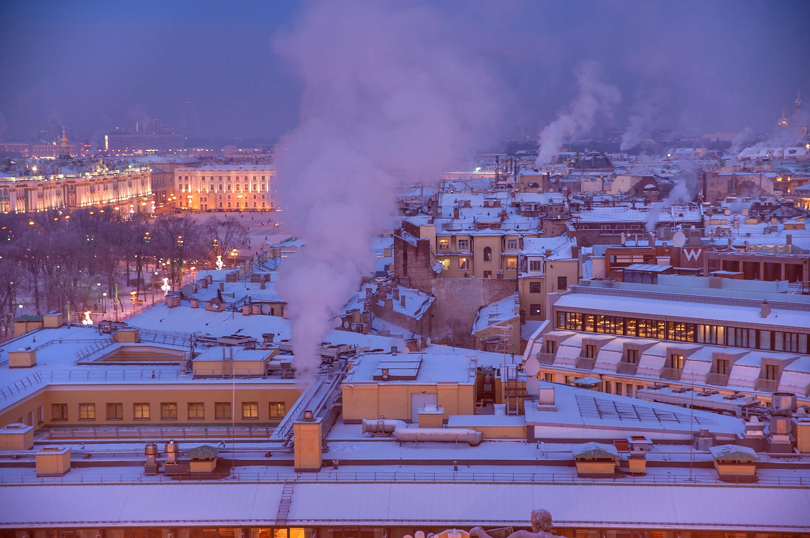 Area of Dvortsovaya Square from colonnade of St.Isaac Cathedral. St.Petersburg, Russia