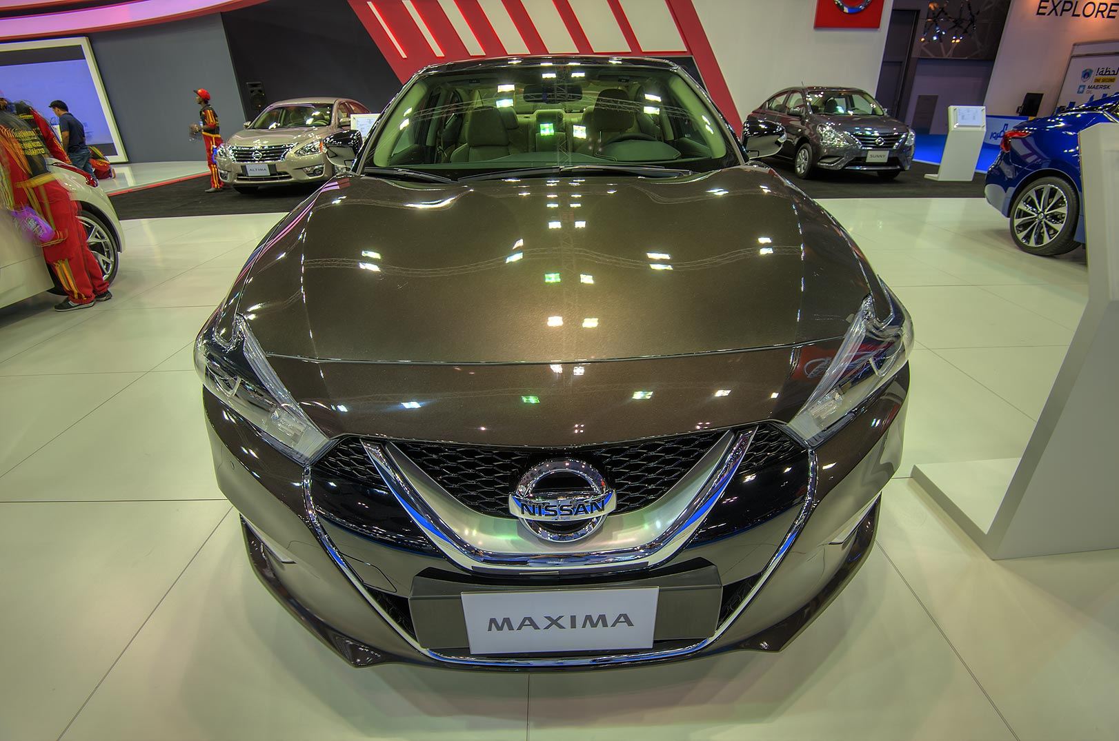 Nissan Maxima car at a motor show in Exhibition...near City Center mall. Doha, Qatar