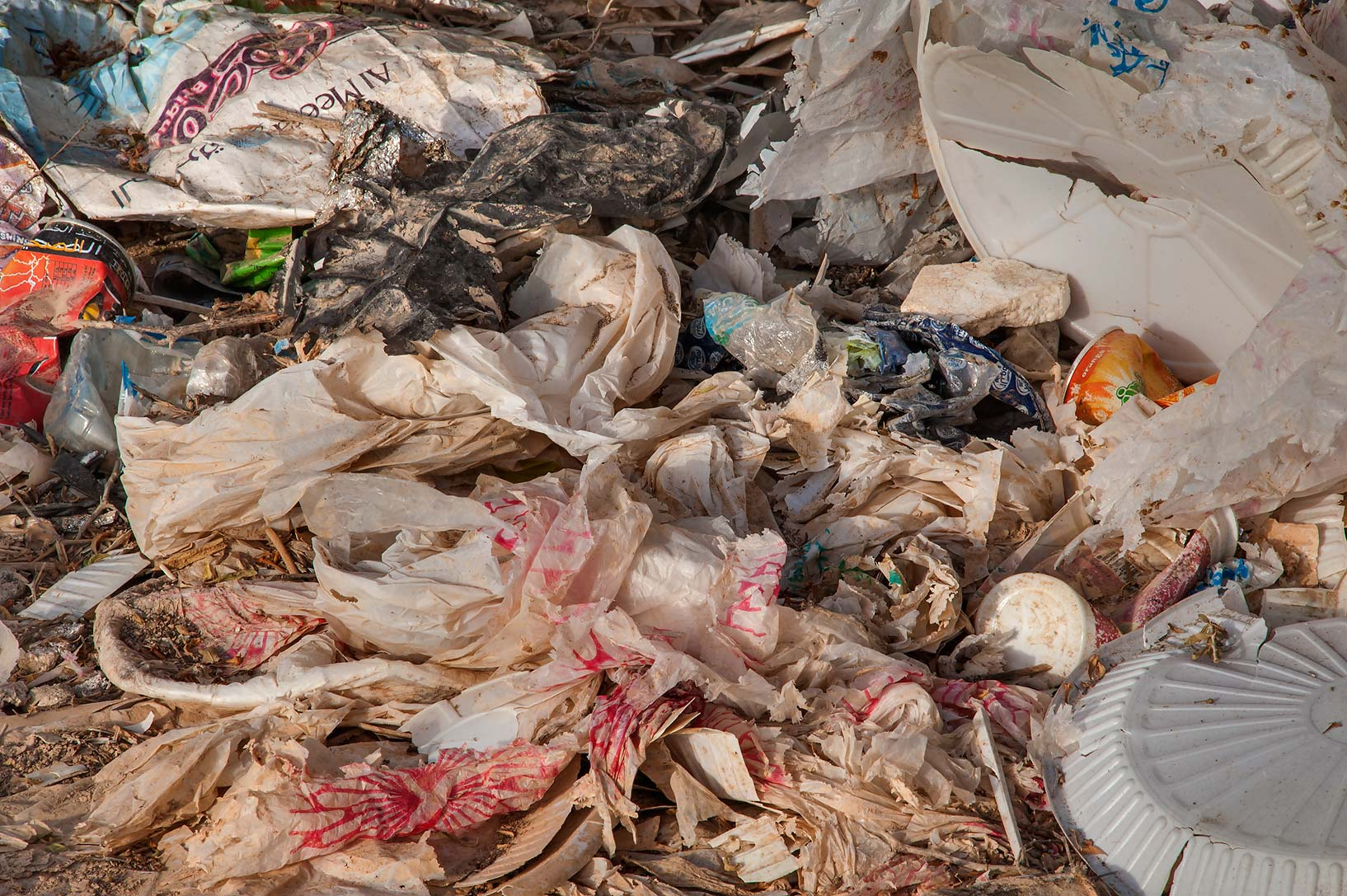 Plastic trash in a littered spot in a silty...of Al Magdah farms. Northern Qatar