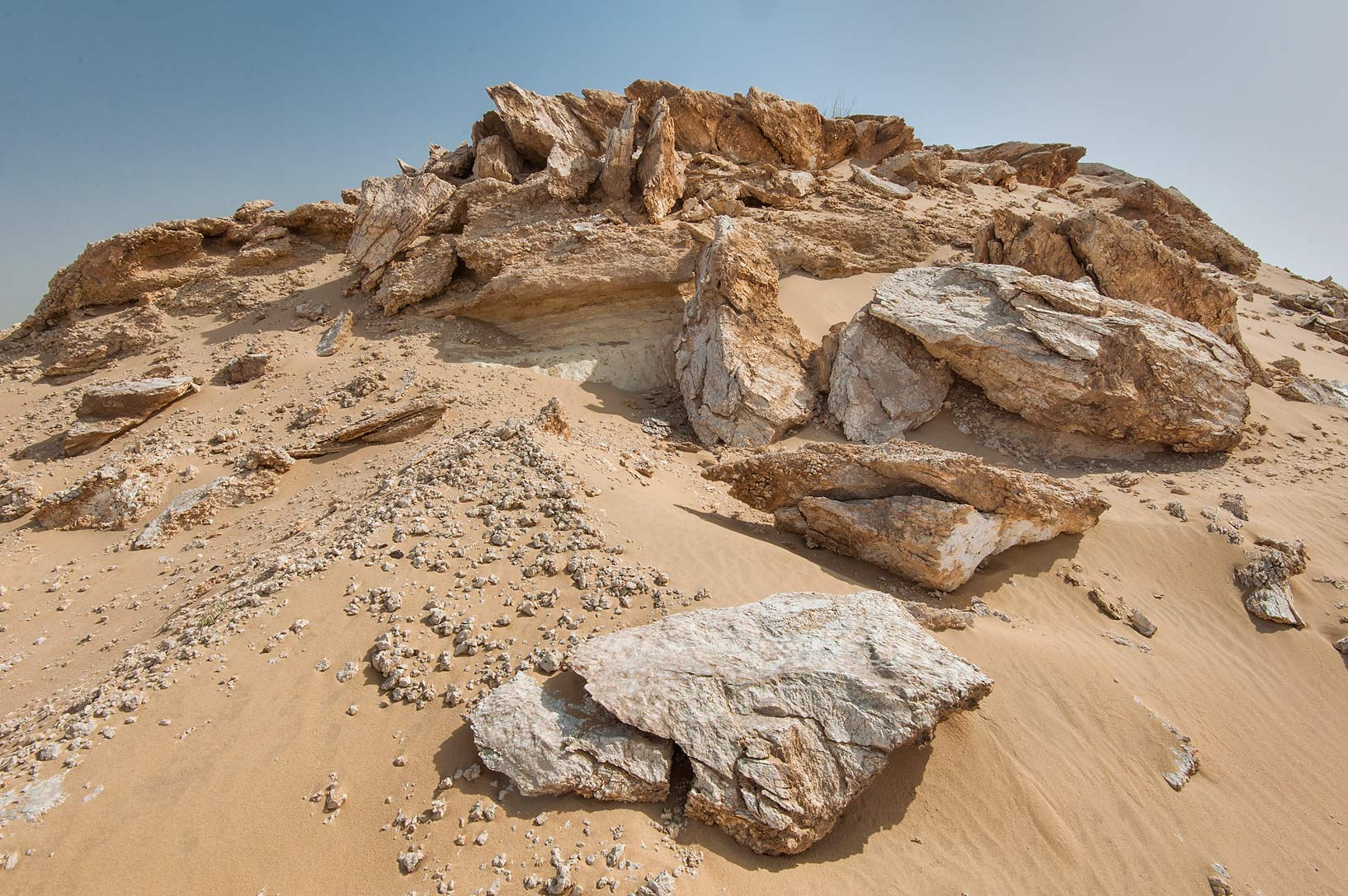 Weathered gypsum slabs (selenite) in area of...an Nakhsh) in south-western Qatar