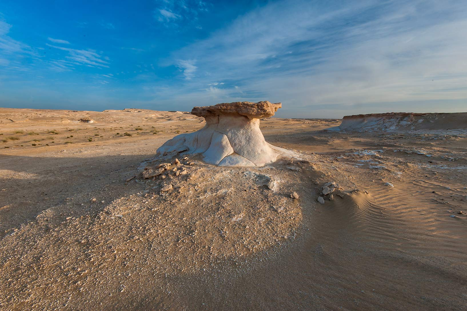 Limestone mushroom in area of Jebel Al-Nakhsh (Khashm an Nakhsh). South-western Qatar